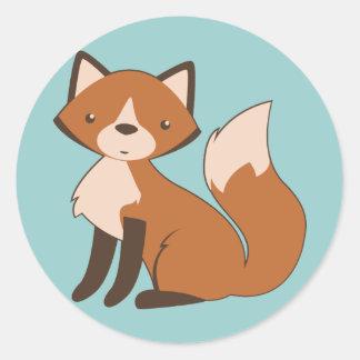 Cute Sitting Fox Classic Round Sticker