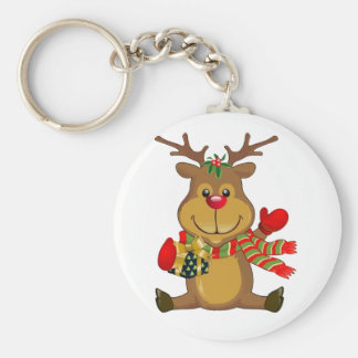 Cute Sitting Reindeer with Christmas Package Key Chain