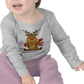 Cute Sitting Reindeer with Christmas Package Shirts