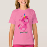 Cute Skateboarding Cartoon Unicorn Kids T-Shirt