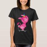 Cute Skateboarding Cartoon Unicorn Women T-Shirt
