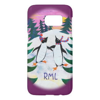 Cute Skating Penguins in Winter Landscape Samsung Galaxy S7 Case