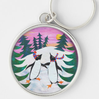 Cute Skating Penguins Snow-scene Round Keychain