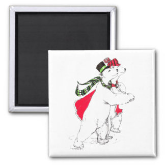 Cute Skating Polar Bears Christmas Holiday 2 Inch Square Magnet