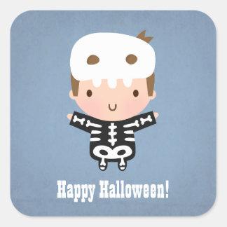Cute Skeleton Boy Kids Halloween Square Sticker