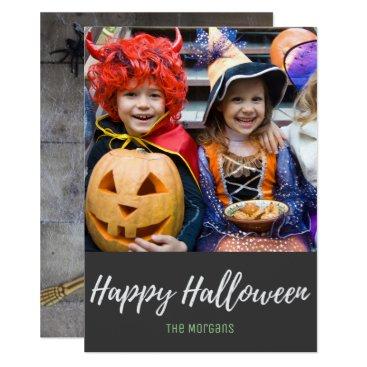 Halloween Themed Cute Skeleton Candy Corn Halloween Photo Card