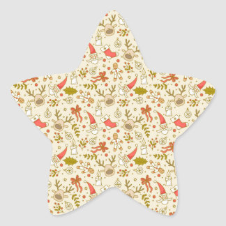 Cute Sketchy Christmas Pattern Star Stickers