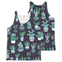 Cute sketchy illustration of cactus pattern All-Over-Print tank top