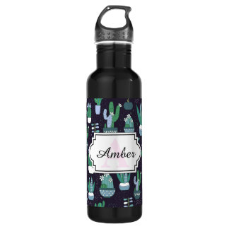 Cute sketchy illustration of cactus pattern water bottle