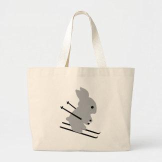 cute ski bunny  snow skiing tote bags