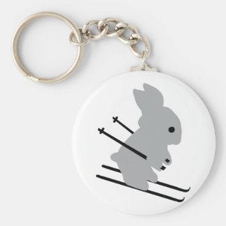 cute ski bunny  snow skiing basic round button keychain