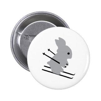 cute ski bunny  snow skiing button
