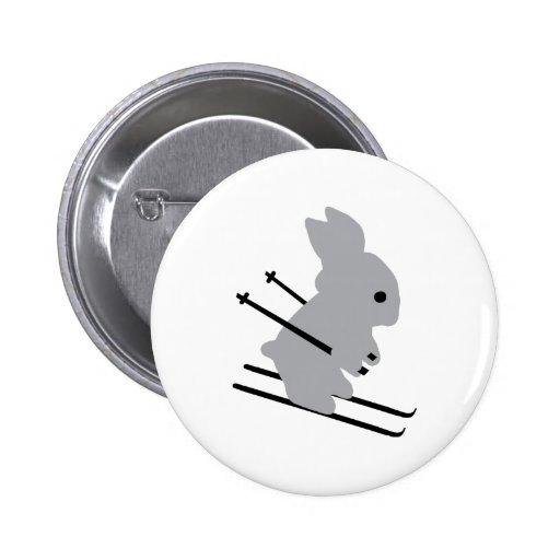 cute ski bunny  snow skiing buttons