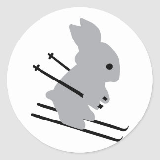 cute ski bunny  snow skiing classic round sticker