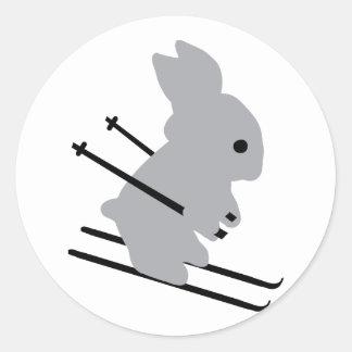 cute ski bunny  snow skiing classic round sticker