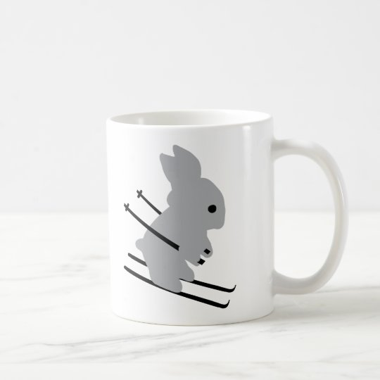 cute ski bunny  snow skiing coffee mug