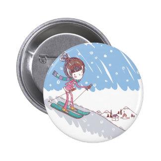 Cute Skiier Button