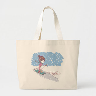 Cute Skiier Large Tote Bag