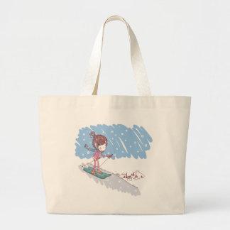 Cute Skiier Large Tote Bag