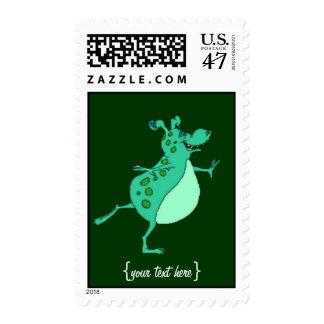 Cute Skipping Green Alien Postage Stamp