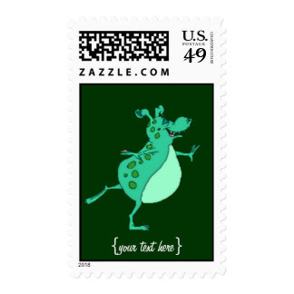 Cute Skipping Green Alien Stamps
