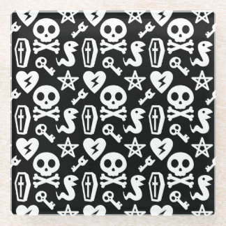 Cute Skull And Crossbone Halloween Pattern Glass Coaster
