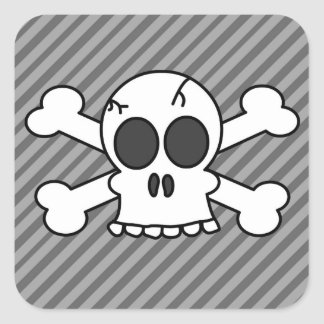 Cute Skull and Crossbones Grey Stripes Square Sticker