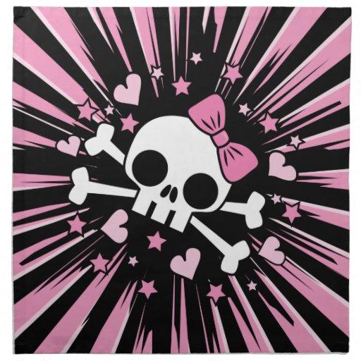 Cute Skull and Crossbones Printed Napkin