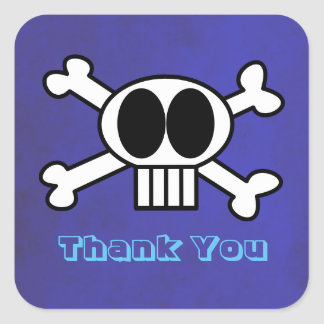 Cute Skull and Crossbones Thank You Square Sticker