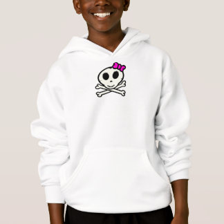 Cute Skull and Crossbones With Pink Bow Hoodie