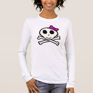 Cute Skull and Crossbones With Pink Bow Long Sleeve T-Shirt