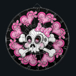 "Cute Skull and Hearts Dart Board<br><div class=""desc"">Cute skull and crossbones with polka dotted bow surrounded by pink hearts and flowers.</div>"