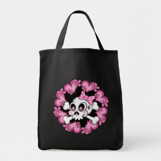 Cute Skull and Hearts Tote Bag