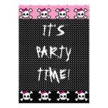 cute skull crossbones punk goth party announcements