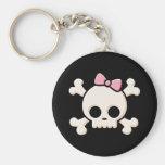Cute Skull Girl Basic Round Button Keychain