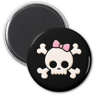 Cute Skull Girl Black Round Button Magnet