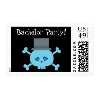 Cute Skull Groom Bachelor Party Black Custom Stamps