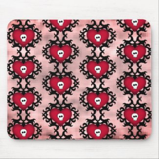 Cute skull hearts mouse pad
