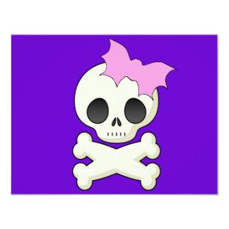 Cute Skull n Crossbones with Bat Bow Card