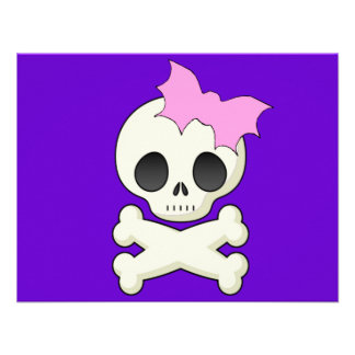 Cute Skull n Crossbones with Bat Bow Custom Invitations