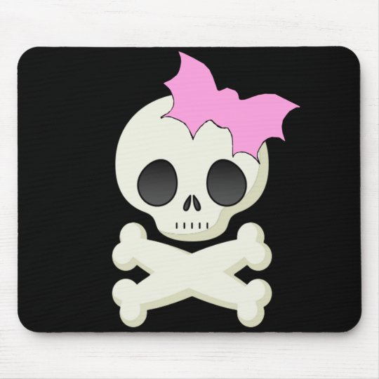 Cute Skull n Crossbones with Bat Bow Mouse Pad