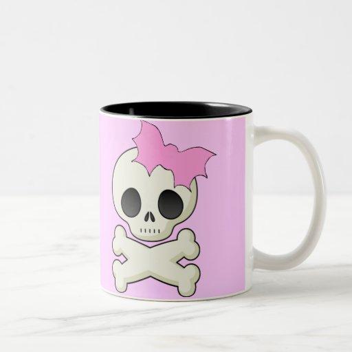 Cute Skull n Crossbones with Bat Bow Mugs