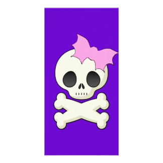 Cute Skull n Crossbones with Bat Bow Personalized Photo Card