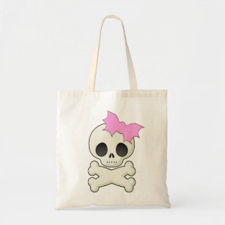 Cute Skull n Crossbones with Bat Bow Tote Bag