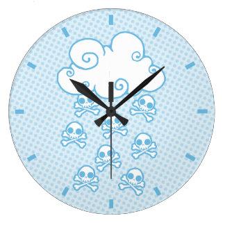 Cute Skull Raincloud Large Clock