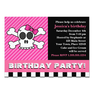 Cute Skull w/ Bow Birthday Party - Pink Card