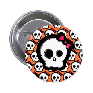 Cute skull with bow pinback button
