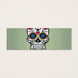 Cute Skull With Flowers Art Design Mini Business Card