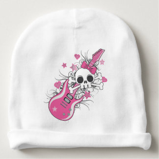 Cute Skull with Pink Guitar Baby Beanie