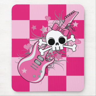 Cute Skull with Pink Guitar Mouse Pad